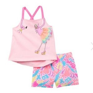 Betsey Johnson flamingo top abs shorts set